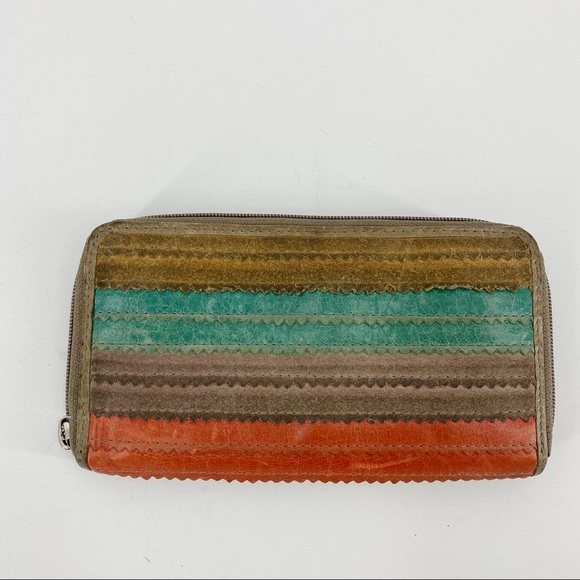 Fossil leather multicolor striped wallet